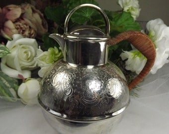 Vintage Silver Plate Teapot with Bamboo Style Handle