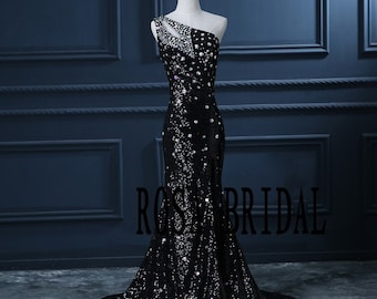 Black Sequins Lace prom dress Mermaid Prom dress One Shoulder Custom size