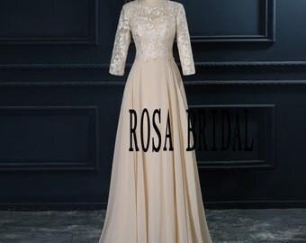 Long sleeve bridesmaid dress champagne, Champagne Lace bridesmaid dress Custom Size color