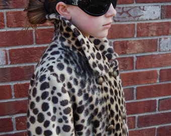 1960s Spotted Faux Leopard Fur Coat by Millers