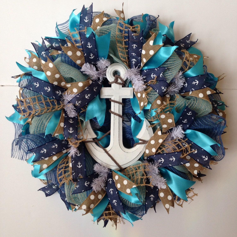 Nautical deco mesh wreath summer beach wreath by baywreathdesigns