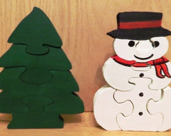 Puzzle (stand up) Snowman & Christmas Tree
