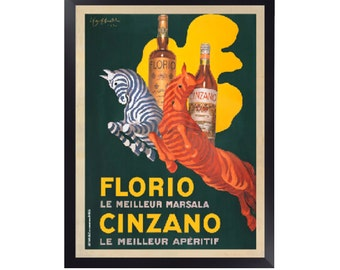 Florio e Cinzano, 1930 By Leonetto Cappiello Print. Framed Options Only