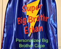 Personalized  Big Brother Superhero Cape Reversible Superhero Cape with Bolt New Brother or Sister Gift! Brother Cape Little brother cape