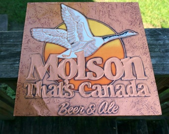 Vintage Molson Canadian Pressed Foil Beer and Ale Sign