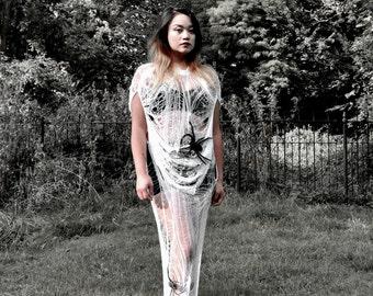 White Maxi Full Shredded Halloween Dress