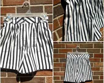 Adorable Black and White Stripe High Waisted Shorts