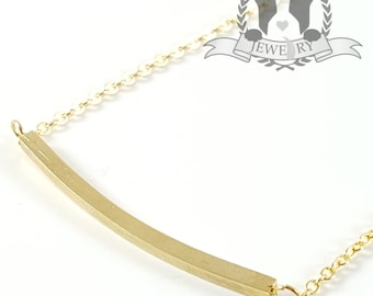 Dainty Gold Curved Bar Necklace Trendy Sleek Charm Pendant Necklace in Gift Box