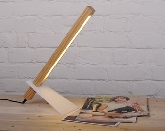 Desk lamp made from solid wood