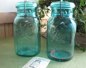 Blue Mason Jars Bicentennial Ball Jars 1970s Set of Two (2) Ball Canning Jars