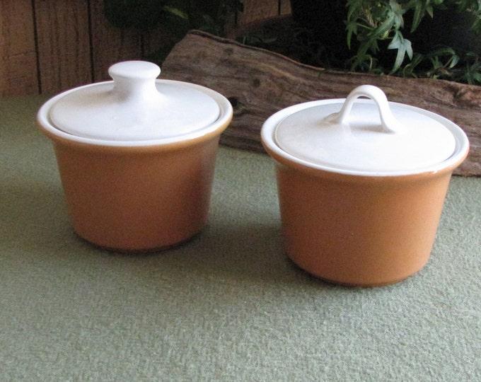 Brown and Cream Sugar Bowls Vintage Lidded Sugar Bowls