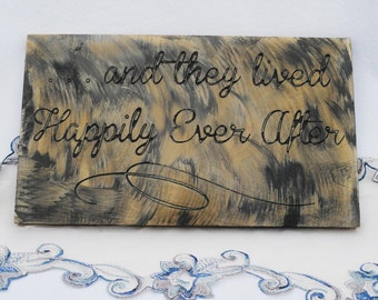 And they lived happily ever after wood sign - Engraved wedding sign - rustic wood sign, wedding ceremony decor plaque