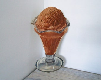 Vintage Die Cut Chocolate Ice Cream in Sundae Dish Restaurant Store Display Graphic Litho in USA 1950s
