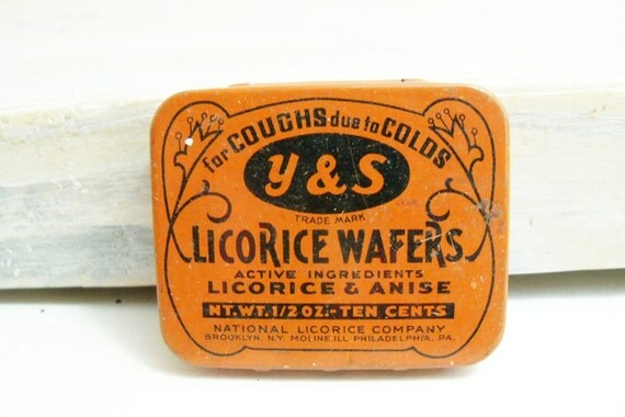 Antique Y&S Licorice Wafers Pocket Tin Smokers Wafers Black Orange 1920's
