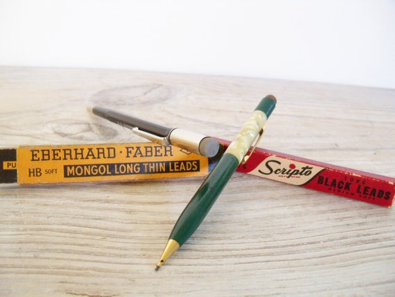 2 Vintage Mechanical Pencils with Boxes of Replacement Leads Skilcraft Sheaffer Eberhard Faber Scripto Soft Mongol Long Thin Leads 1950s
