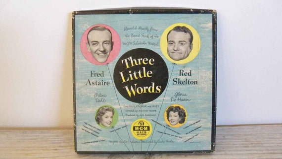 Vintage Record Three Little Words Fred Astaire Red Skelton MGM Original Soundtrack 45 RPM Kalmar and Ruby Boxed 4 Record Set 1950s