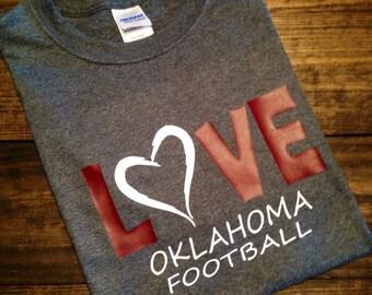 LOVE Oklahoma Football, OU Sooners, T-Shirt Glitter, Boomer Sooner, Sooners T-shirt, OU Football Shirt