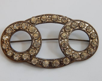Vintage Antique Brooch Clear Rhinestone C Clasp Brooch Old Clear Rhinestone Victorian Brooch Pin