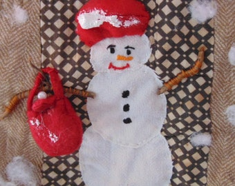 Primitive Wall Hanging,  Quilt ,Fabric ,Handmade ,Shopping Snow Lady ,Cotton Batting