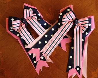 Horse Show Hair Bows/Classic Navy Blue Pink Equestrian Clothing
