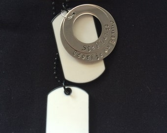 Men's white Dog Tag Personalised Circle Necklace