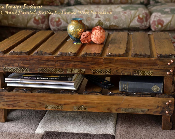 FREE UK SHIPPING Rustic Reclaimed Wood Celtic Coffee Table in Medium Oak Stain with King Solomon's Knot Celtic Design & Under Shelf Storage