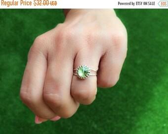 SALE - Silver Peridot ring - Sterling silver 925 Peridot ring - August ring - Green Peridot ring - Silver green ring - Peridot jewelry