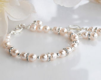 Pink Pearl Bracelet and Earring Set/Weddings/Bridesmaid/