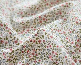 "Lawn Fabric - Little Flower Pattern Lawn Fabric ""Bella Indian Blue"" by Half Yard - 55"" Width"