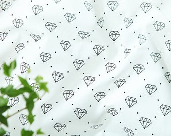 Diamond and Dots Pattern Cotton Fabric by Yard