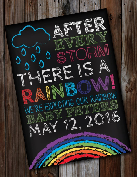 After Every Storm There Is A Rainbow Pregnancy Announcement Card