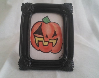 "2.3"" x 3.3"" Framed Watercolor Jack-O-Lantern Black and Orange Creepy Halloween Décor"