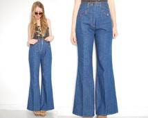 vintage 70s bell bottoms denim high waisted waist hippie hippy boho flares blue jeans 1970s 70s clothing M L