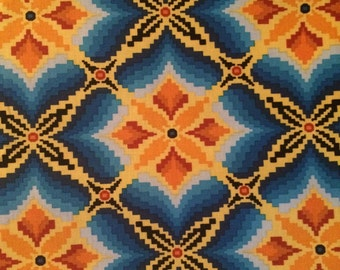Cotton Fabric by the 1/4 Yard - Blue and Orange Cotton