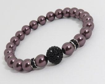 Swarovski Pearl Bracelet, Burgundy Bracelet, Black Swarovski Pave Bracelet, Burgundy and Black, Purple Bracelet, Special Occasion, Birthday