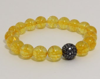 Citrine Bracelet, Black Swarovski Crystal Pave Ball, Natural Citrine Gemstone Bracelet, November Birthstone, Good Luck Bracelet