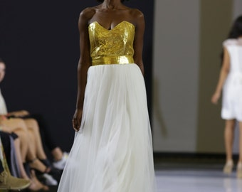 Gold bustier wedding dress and tulle skirt