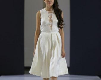 Short silk with lace neckline wedding dress from calais