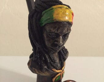 Tobacco Hand Made Pipe, Rasta Dreds Girl Design