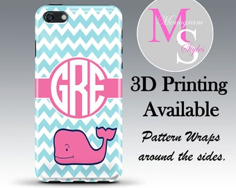Monogram iPhone 6, 7, Personalized Phone Case Blue Chevron Pink Whale Monogrammed iPhone 4, 4S Case, iPhone 5, 5S, 5C, iPhone 6 Plus #2253