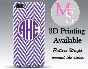 Monogram iPhone Case iphone 4s Personalized Phone Case Purple Chevron Monogrammed iPhone 4, 4S, iPhone 5, 5S, 5C iPhone 6, 6 Plus #2094