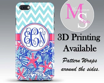 Monogram iPhone 6 Case Personalized Phone Case Lilly Pulitzer Inspired Monogrammed Case, Iphone 4, 4S, iPhone 5, 5S, 5C iPhone 6 Plus #2294