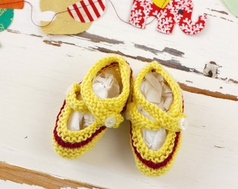 cutest baby booties // hand-knit // yellow with red stripe