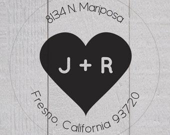 Wedding Return Address Stickers, Clear Transparent Initial Return Address Labels, Heart Envelope Seals  (#149-C)