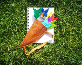 Set of Eleven Felt Arrow Coloured Pencil Toppers with Leather Quiver
