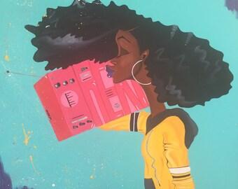 "Black Art ""Listenin' to My Dreams"" 36 x 36 in. Original Art"