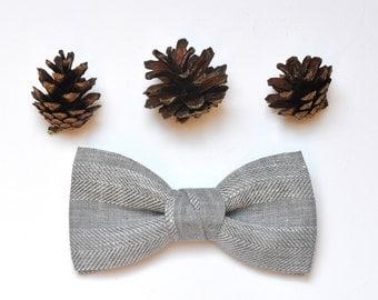 Herringbone Bow Tie. Linen Pre Tied Bow Tie. Groom Bow Tie. Wedding Bow Tie.
