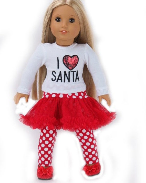 I Heart Santa American Girl Doll Outfit, Doll Costume, Christmas American Girl