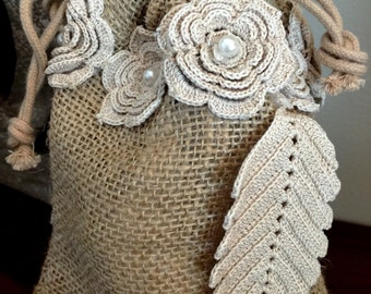 Set Of 2 Adorable Burlap and Lace Keepsake Gift Bags Set Of 2