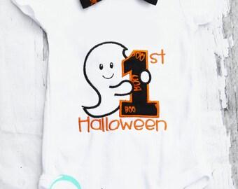 My 1st Halloween Baby Boy Outfit, Halloween Outfit, Ghost onesie Baby Boy Halloween Onesie, Halloween Bodysuit